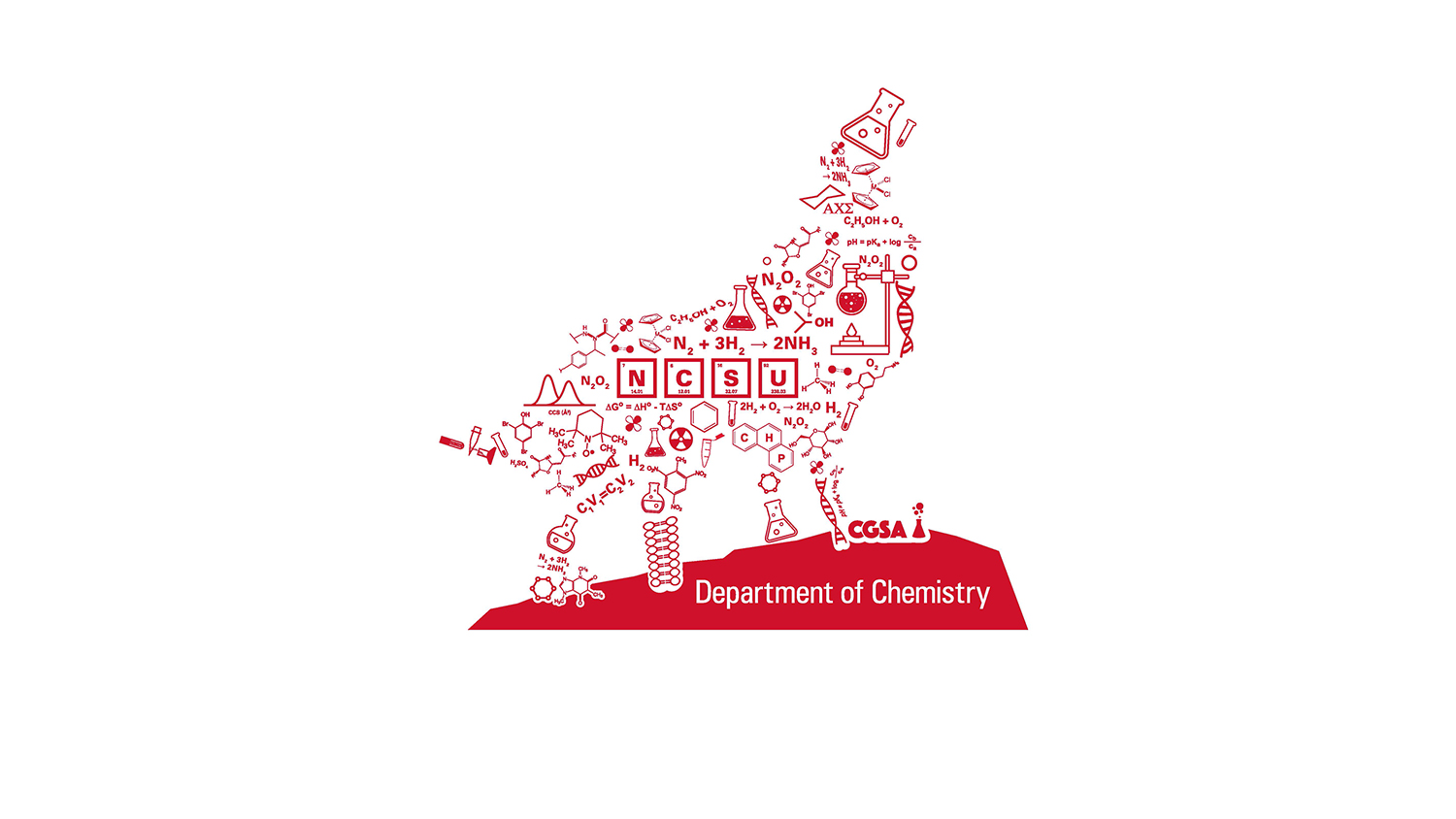 Chemistry Wolf Graphic in Red made up of Chemistry symbols