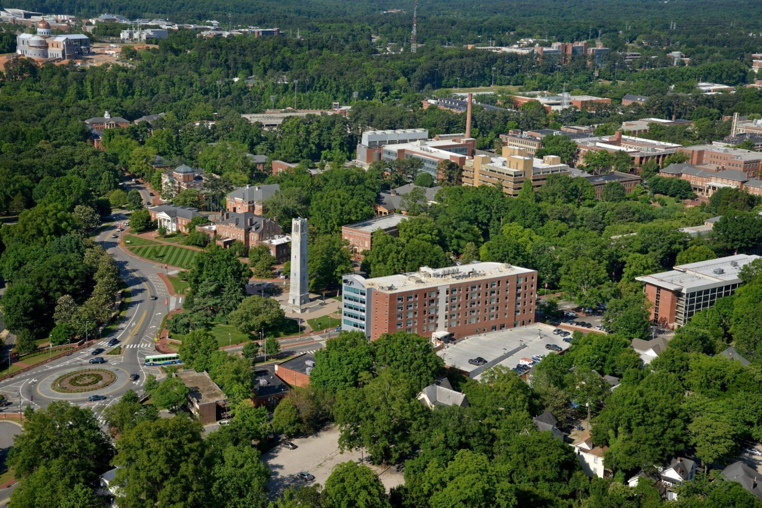 An aerial view of NC State's main campus and belltower
