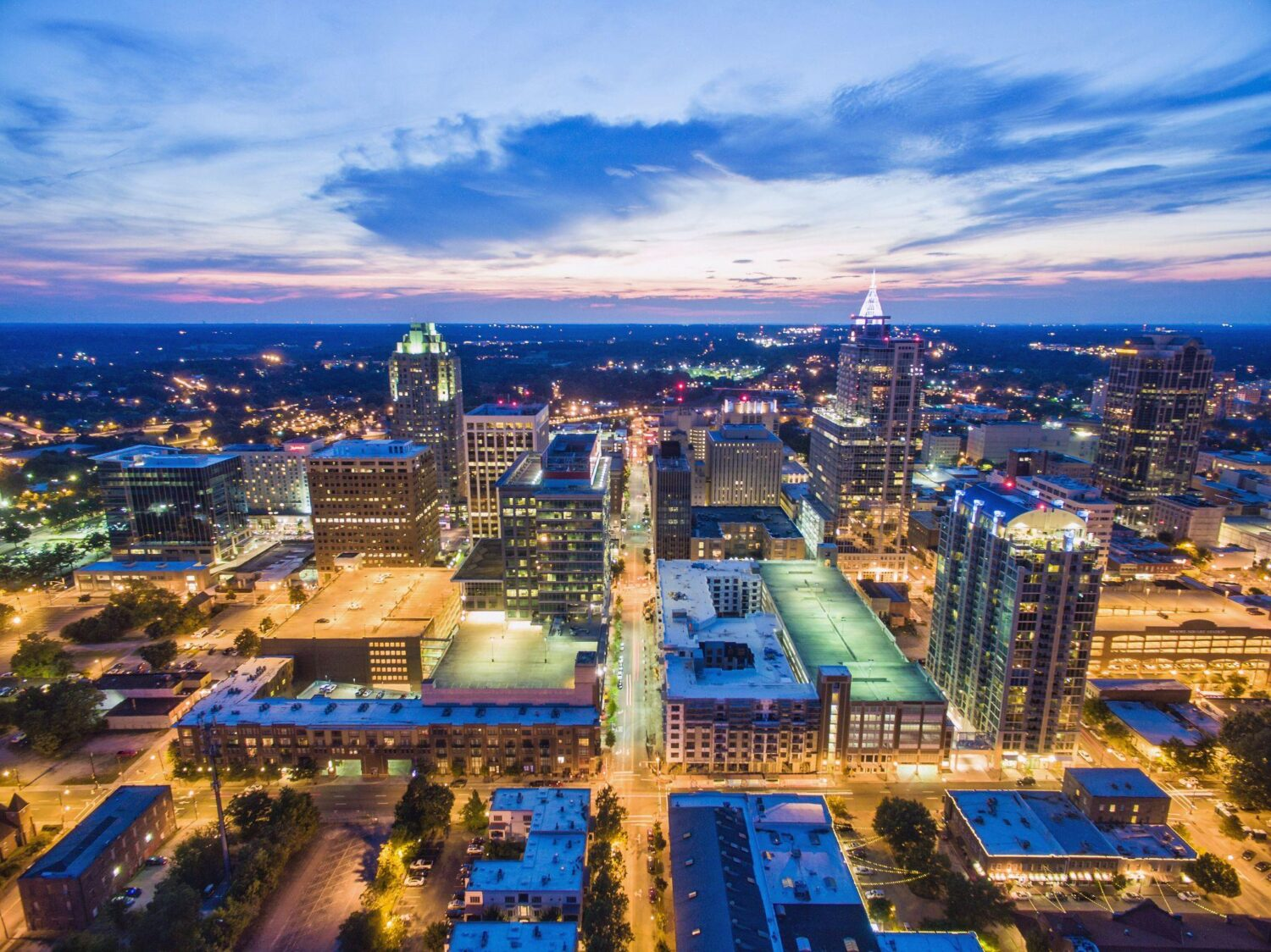 Aerial View of the City of Raleigh at dusk