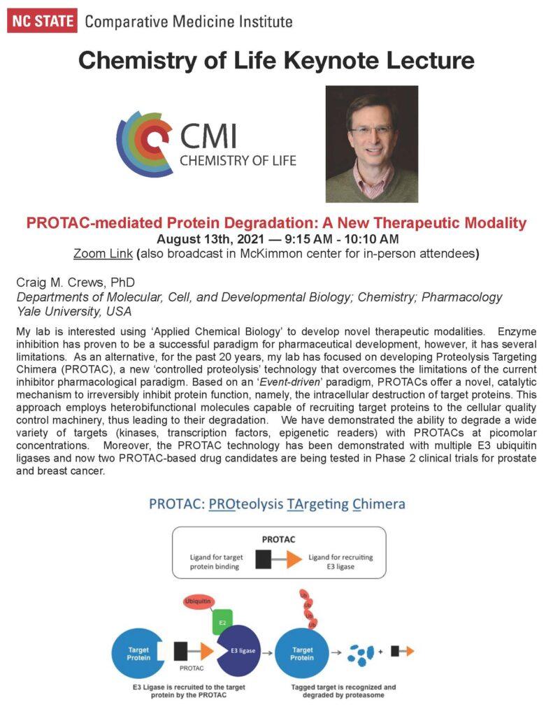 Invitation to Craig Crews Seminar and a brief bio