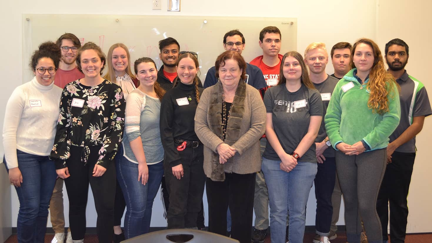 A group photo of the 2018-19 Solomon Scholars with Dean Christine McGahan