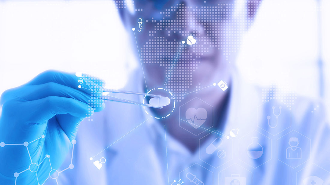 Young male scientist holding a red transparent pill with futuristic scientific air interface with chemical formulas and research data in the foreground