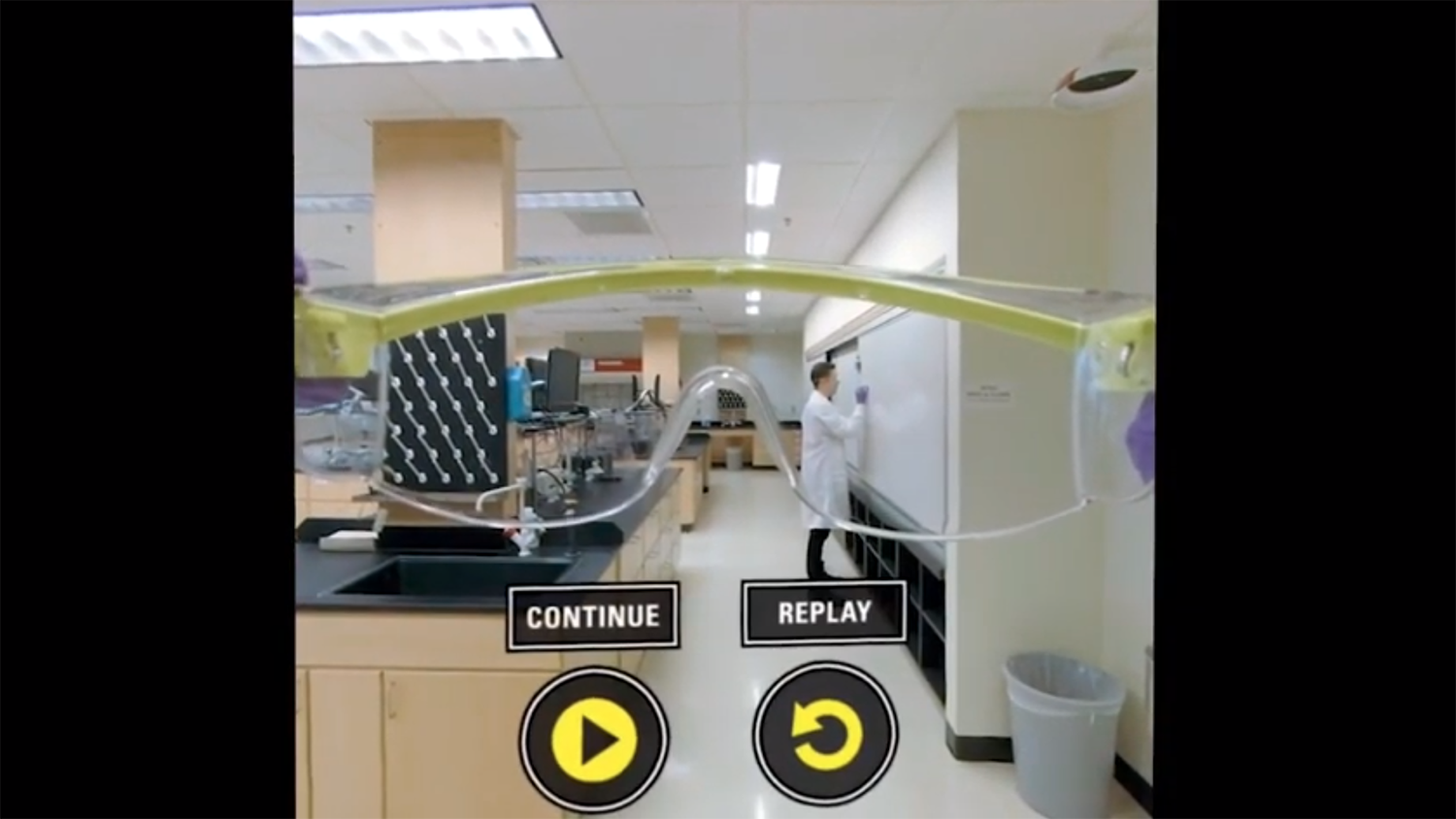 A virtual reality screen showing the inside of an organic chemistry lab