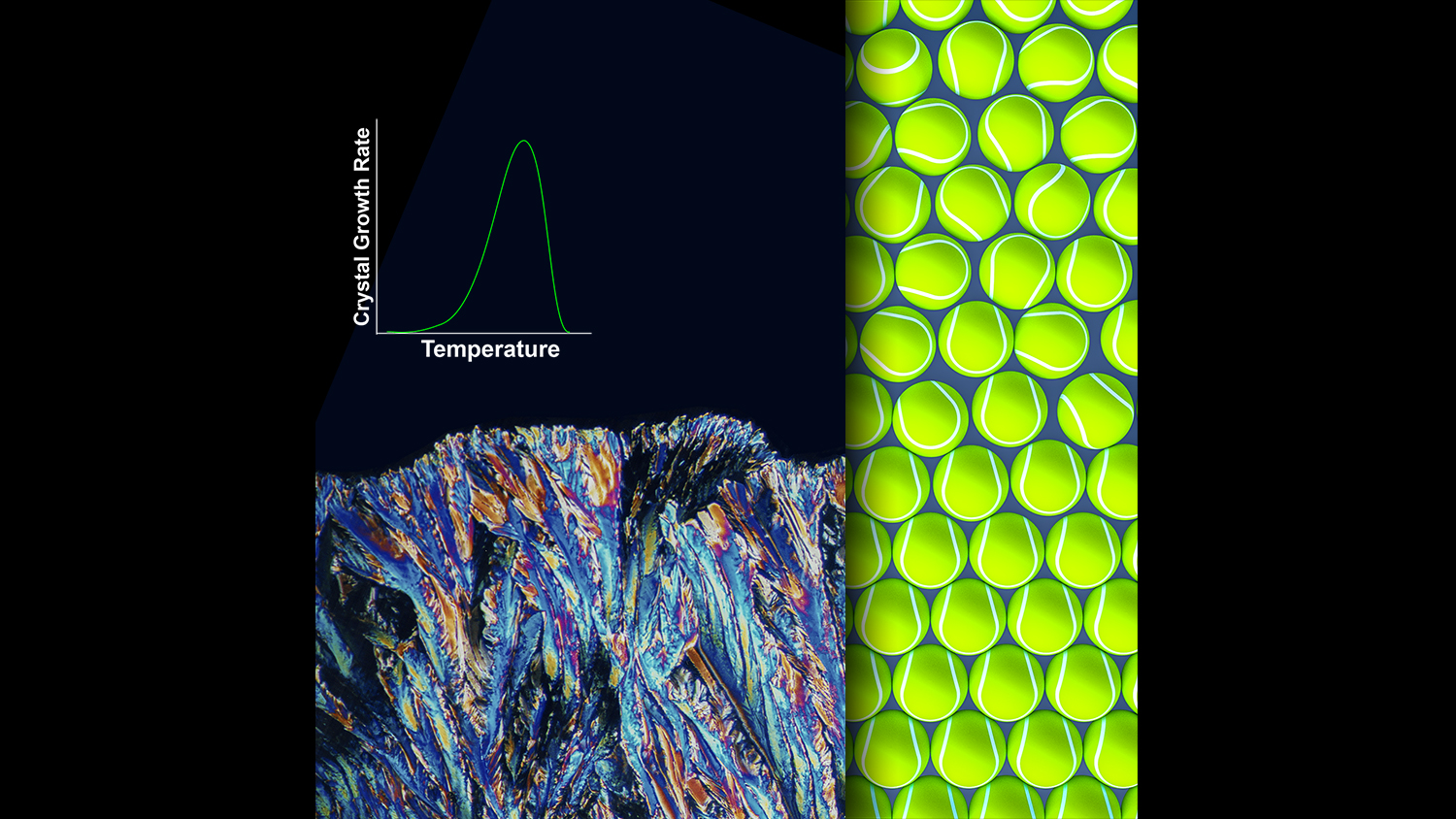 Publication Cover Art demonstrating both a macroscopic and atomistic view of the organizational process involved to transform a melt into a crystal.