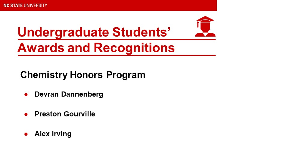 List of Undergraduate Students Awards and Recognitions
