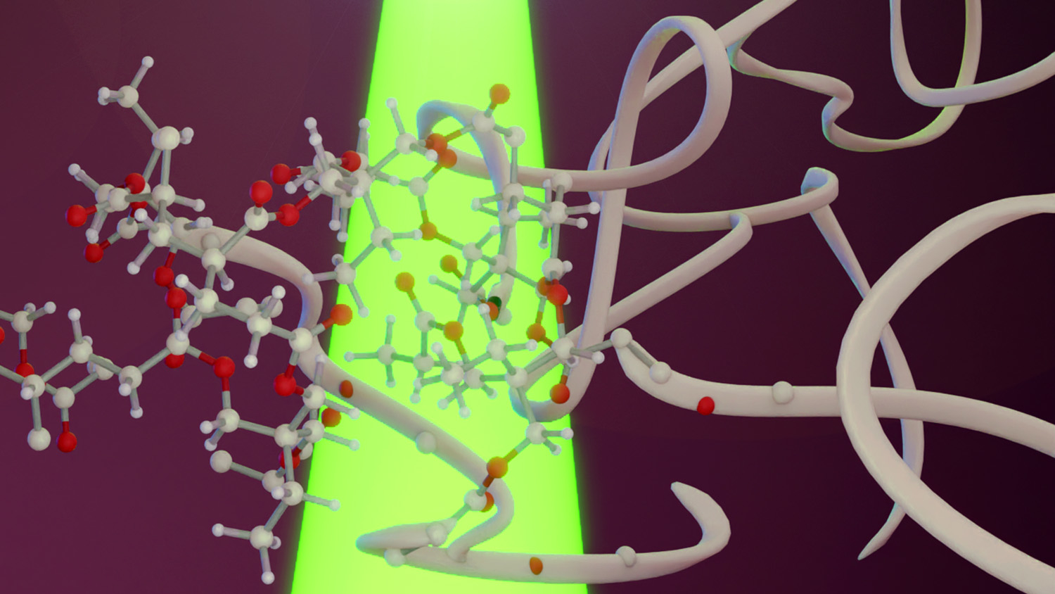 Researchers demonstrate a way to use low-energy, visible light to produce polymer gel objects from pure monomer solutions illustration