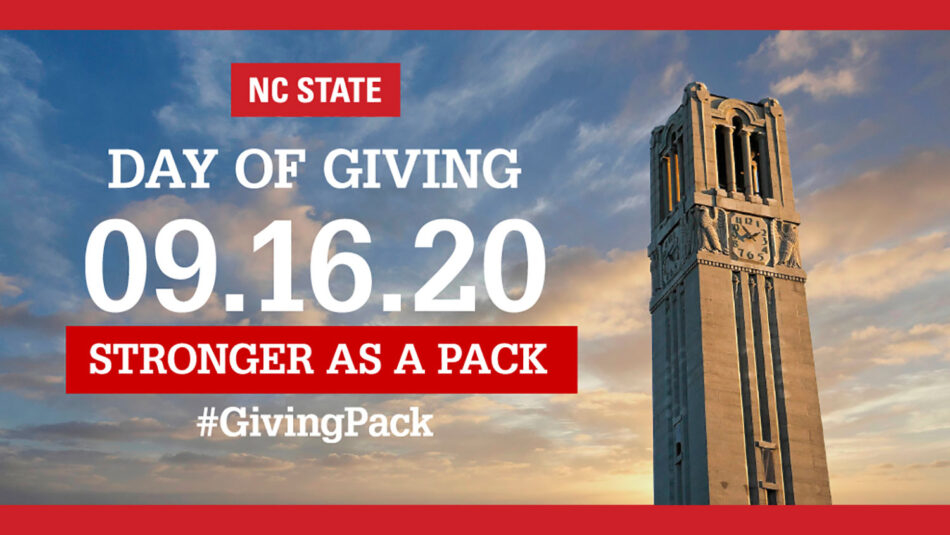 Day of Giving Stronger as a Pack logo over image of Belltower