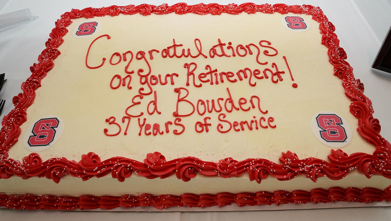 Ed Bowden's retirement celebration cake: 37 years of service