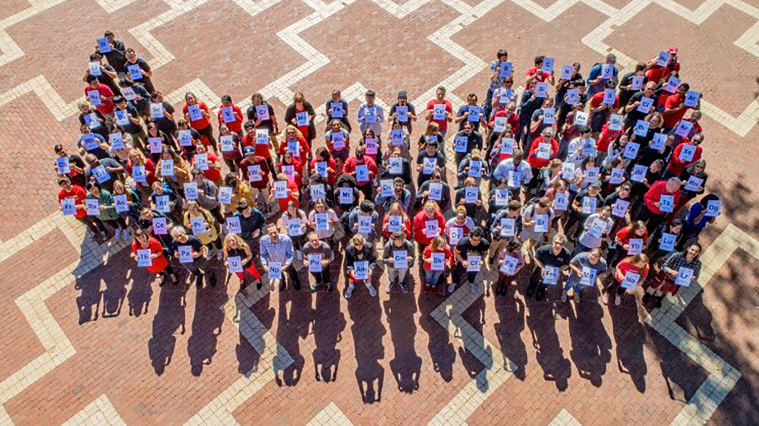 Aerial photo of the chemistry department members holding signs for chemistry symbols