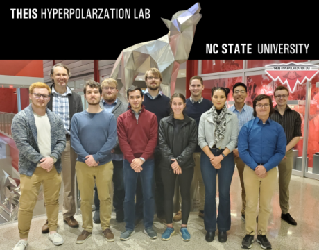 Theis Lab group posing in front of wolf