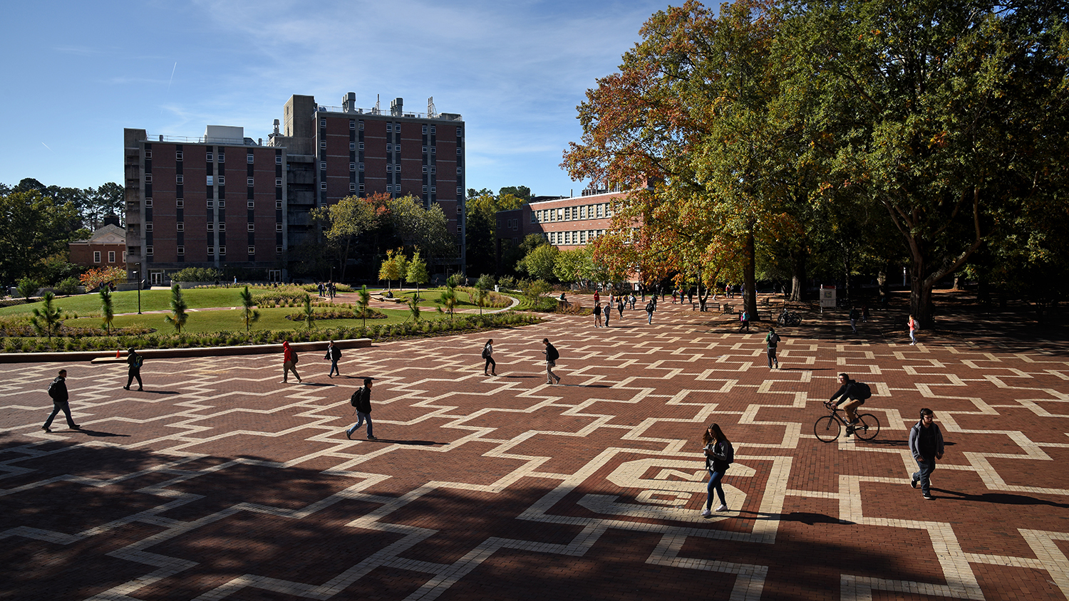 Dabney and Cox view from the Brickyard. Students walking to class on North Campus.