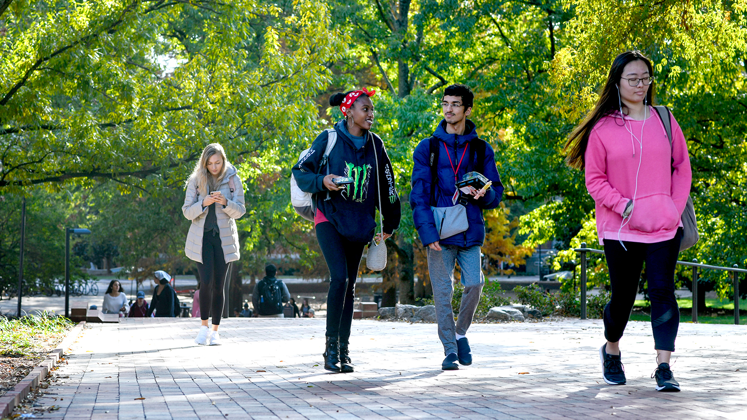 Students head from the Brickyard in the direction of Hillsborough Street on a pleasant November 2019 afternoon. Photo by Becky Kirkland.