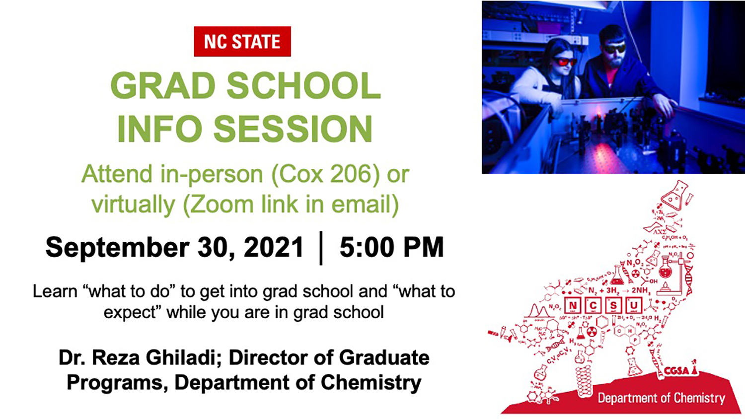 Graduate School in Chemistry Info Session Flyer includes location, date, time, and name and title of speaker
