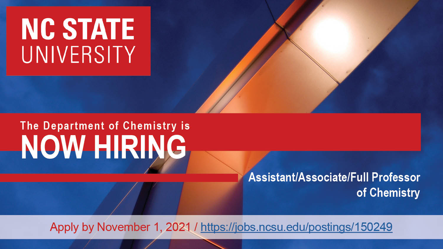 Hiring for an open rank position in chemistry for 2021